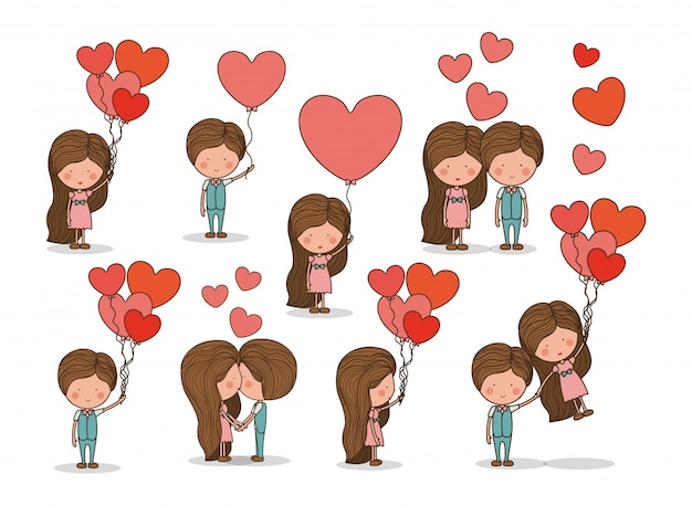 Cute set of couple in love Free Vector