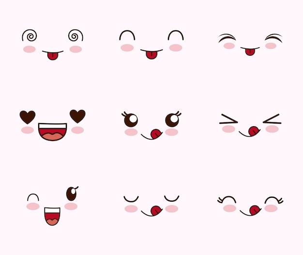 Simpatica serie di facce kawaii Vettore gratuito