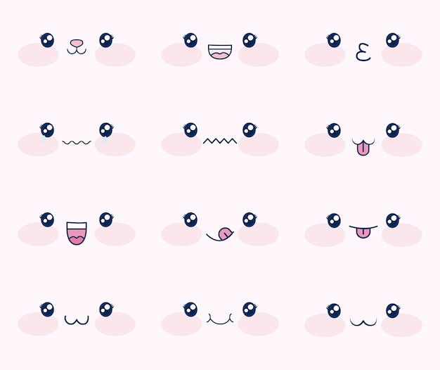 Cute set of faces kawaii Free Vector