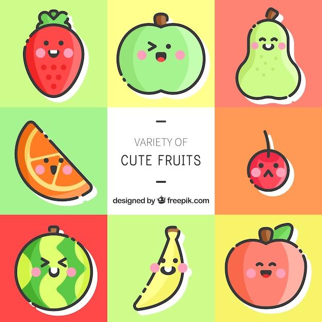 Set di caratteri sveglia di frutta con grandi espressioni Vettore gratuito