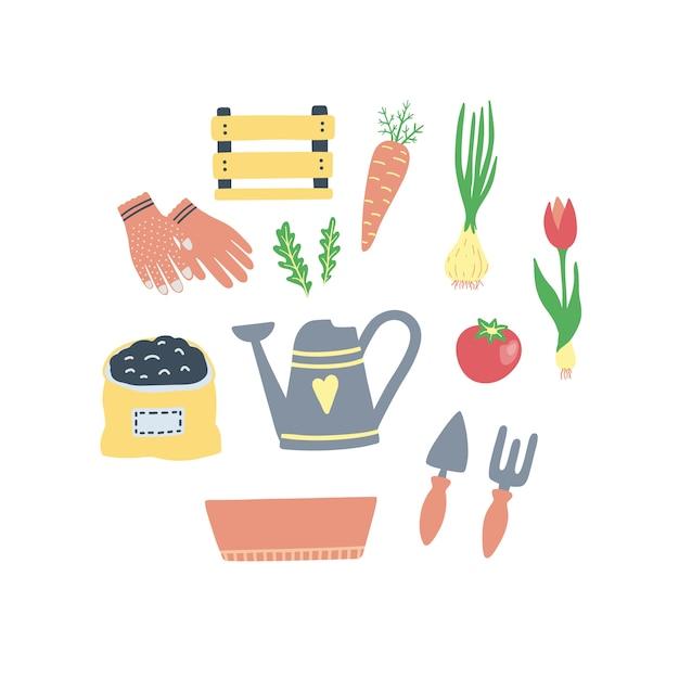 Cute set of gardening elements. Premium Vector