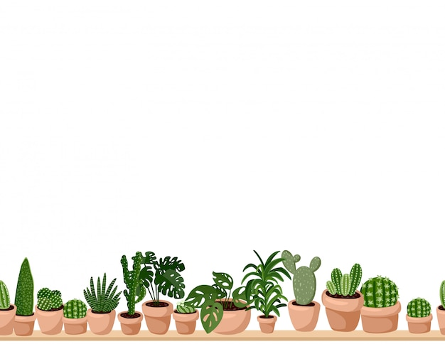 Cute set of hygge potted succulent plants seamless pattern. Premium Vector