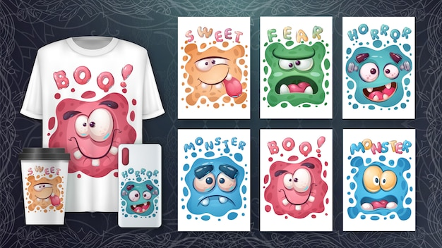 Cute set monster face poster and merchandising Free Vector
