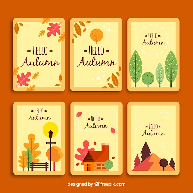 Cute set of autumn cards with flat design
