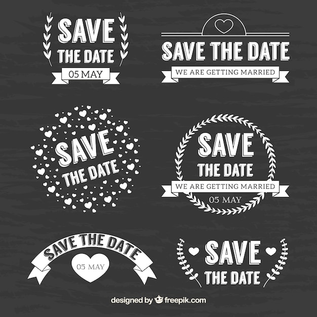 Cute set of blackboard wedding labels