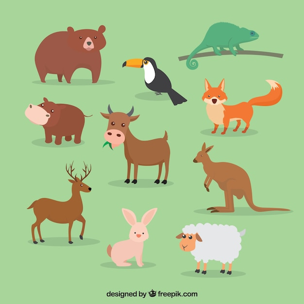 cute set of great animals in flat design free vector