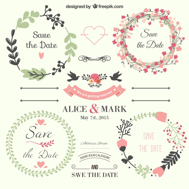 Cute set of Save the Day labels Free Vector