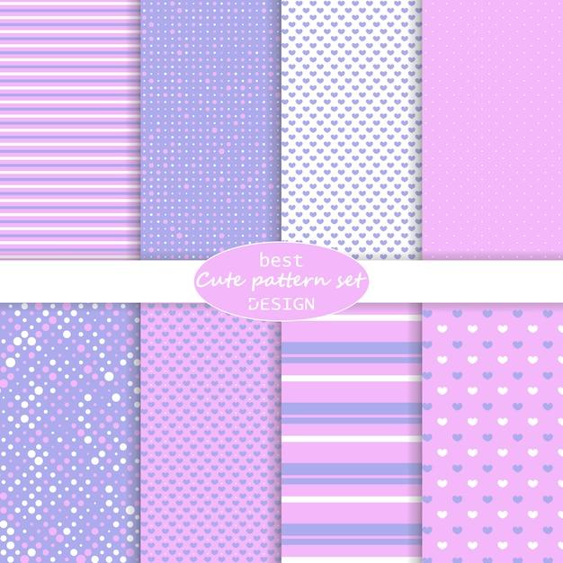 Симпатичный набор. горошек, полосы, узор сердца. розовый, фиолетовый цвета. набор бумаги. Premium векторы