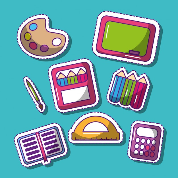 Cute set of school patches funny elements Premium Vector