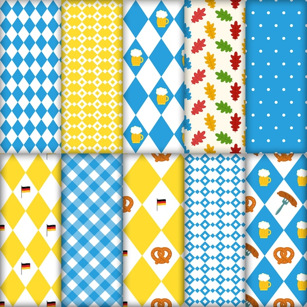 Cute set of seamless traditional octoberfest patterns Premium Vector