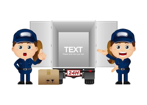 Cute set - set of delivery person Premium Vector