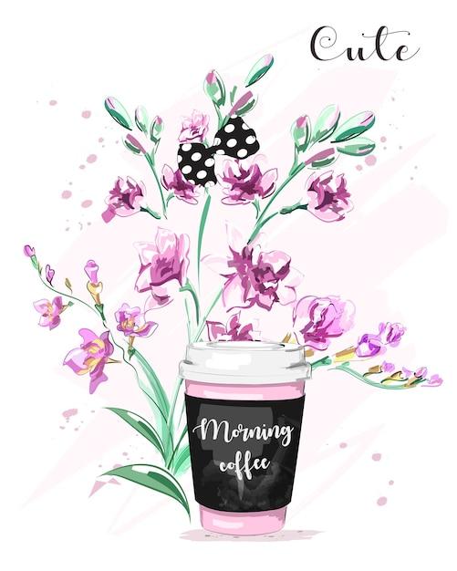紙のコーヒーカップの花と弓のかわいいセット Premiumベクター