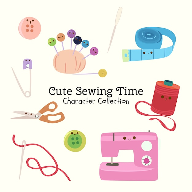 Cute sewing time character collection Premium Vector
