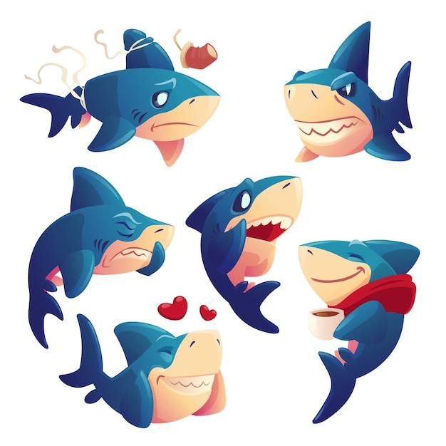 かわいいサメの漫画のキャラクターセット 無料ベクター