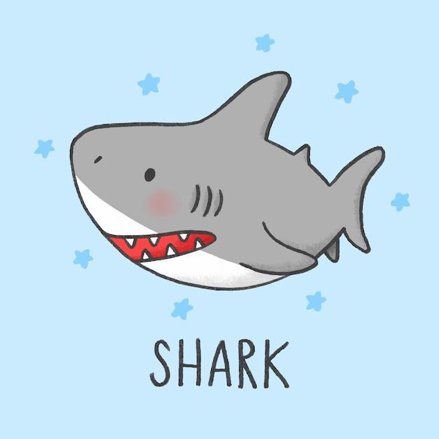 Cute shark cartoon hand drawn style Vector | Premium Download