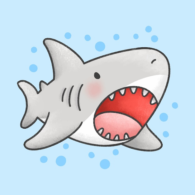 Cute shark cartoon hand drawn style Premium Vector