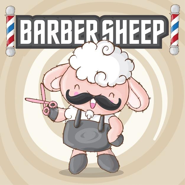Cute sheep animal barbershop Premium Vector
