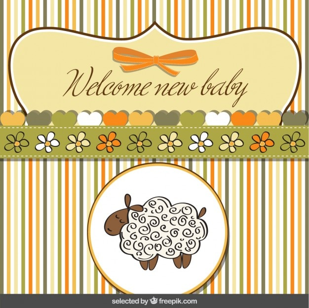 Cute sheep baby shower card Vector | Free Download