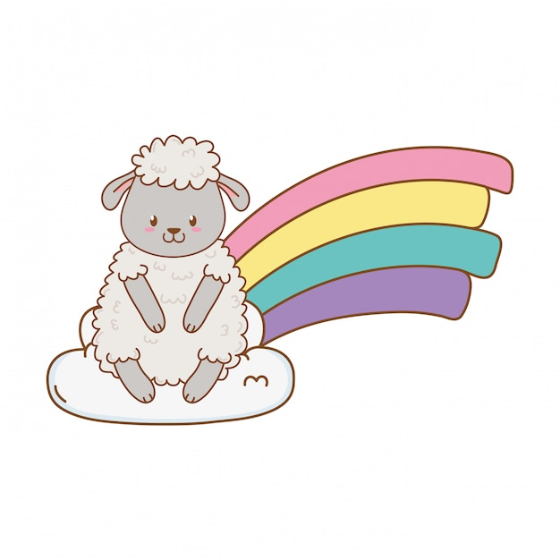 Cute sheep in the clouds with rainbow Premium Vector