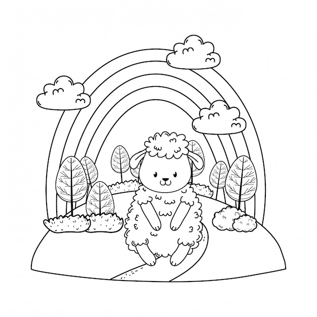 Cute sheep in the field woodland character Premium Vector