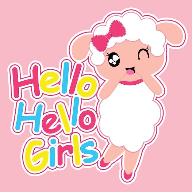 Cute sheep girl says hello vector cartoon background Premium Vector
