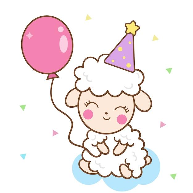 Cute sheep holding balloon Premium Vector