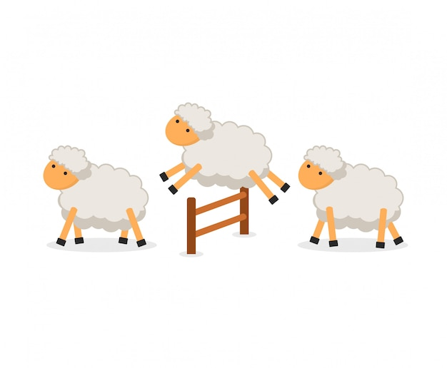 Cute sheep jumping over fence isolated. counting sheep to fall asleep Premium Vector