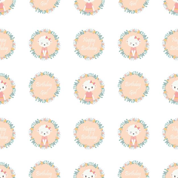 Cute Sheep On Flowers Wreath Pattern For Birthday Wallpaper Premium Vector