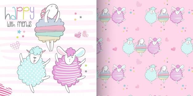 Cute sheep pattern set, hand draw illustration-vector Premium Vector