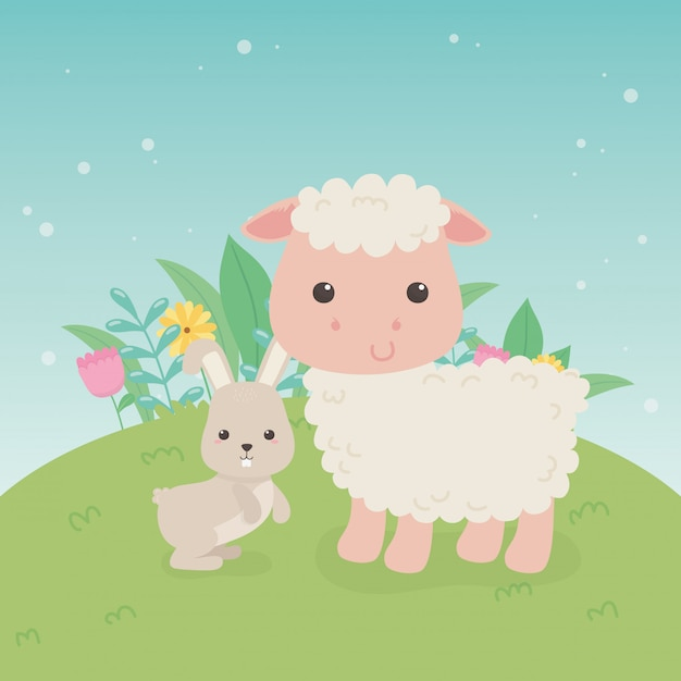Cute sheep and rabbit animals farm characters Premium Vector