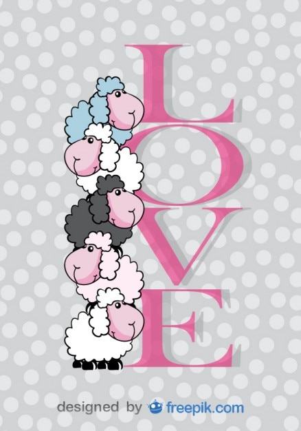 Cute Sheep Valentines Day Card Vector – Download Valentine Day Card
