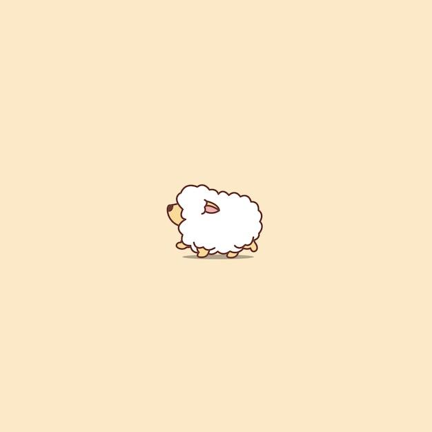 Premium Vector Cute Sheep Walking Cartoon Icon