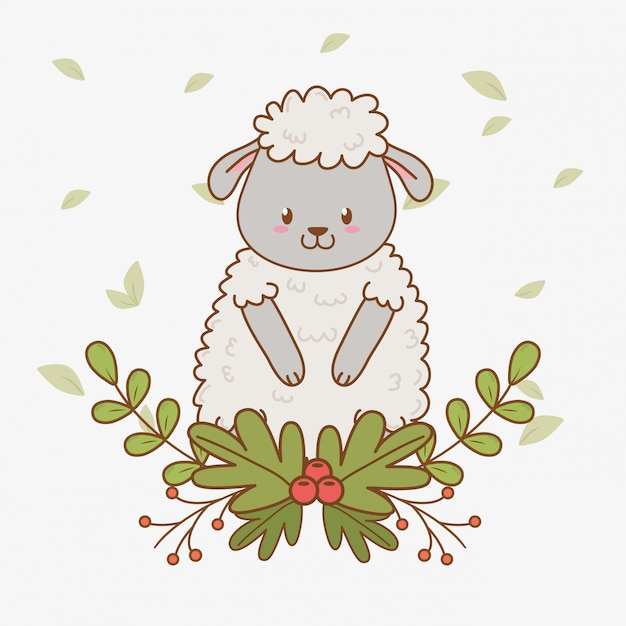 Cute sheep woodland character Premium Vector
