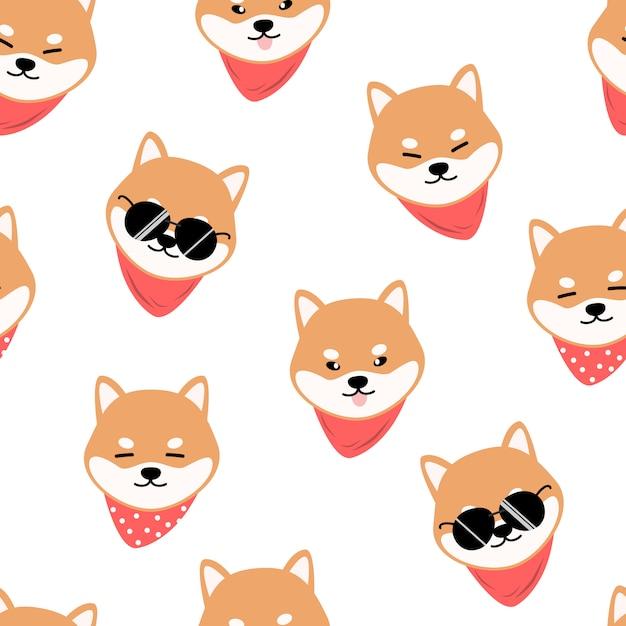 Cute shiba inu dog cartoon doodle seamless pattern Premium Vector