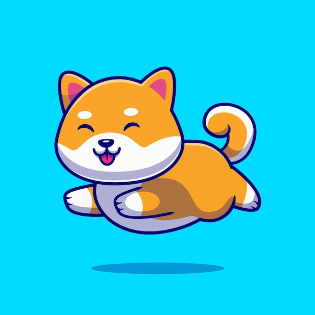 Carino shiba inu cane in esecuzione fumetto icona illustrazione. Vettore gratuito