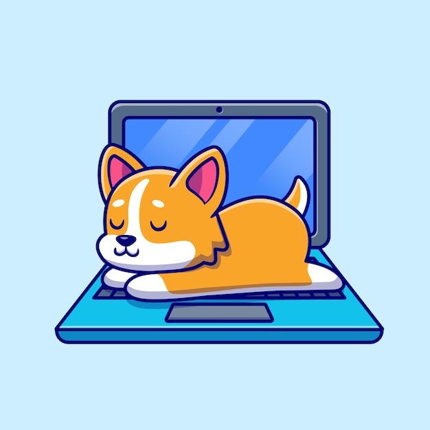 Cute shiba inu dog sleeping on laptop cartoon Premium Vector