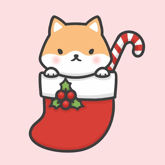Christmas Cartoon Drawings.Cute Shiba Inu Dog In Sock Christmas Hand Drawn Cartoon