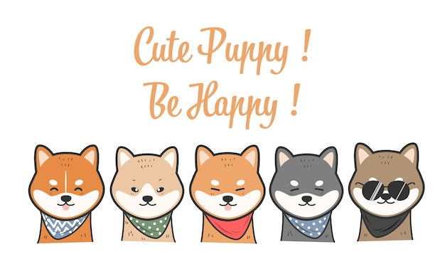 Cute Shiba Inu Dogs Smile Character Cartoon Doodle Premium Vector