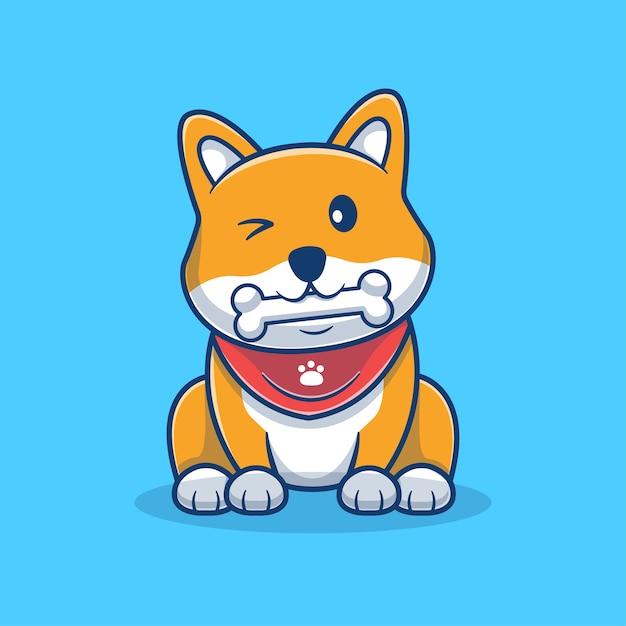 骨漫画イラストを食べるかわいい柴犬。かわいい犬のマスコットのロゴ。動物の漫画のコンセプト。動物、ペットショップ、ペットのロゴ、製品に適したフラットな漫画のスタイル。 Premiumベクター
