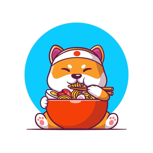 Carino shiba inu mangiare ramen noodle cartoon illustrazione vettoriale. concetto di cibo animale vettore isolato. stile cartone animato piatto Vettore gratuito