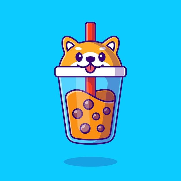 Cartone animato carino shiba inu latte tè boba Vettore gratuito