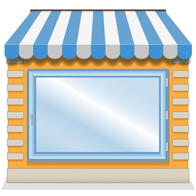 Cute shop with blue awnings Premium Vector