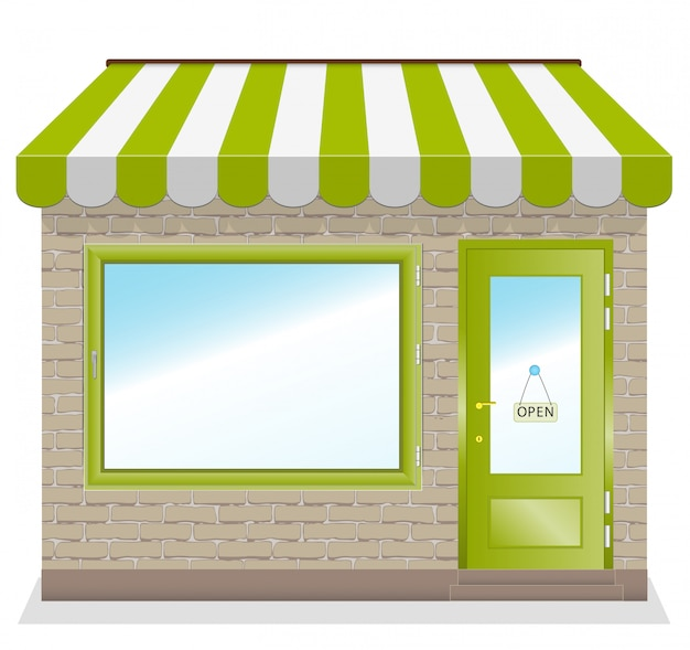 Cute shop  with green awnings Premium Vector