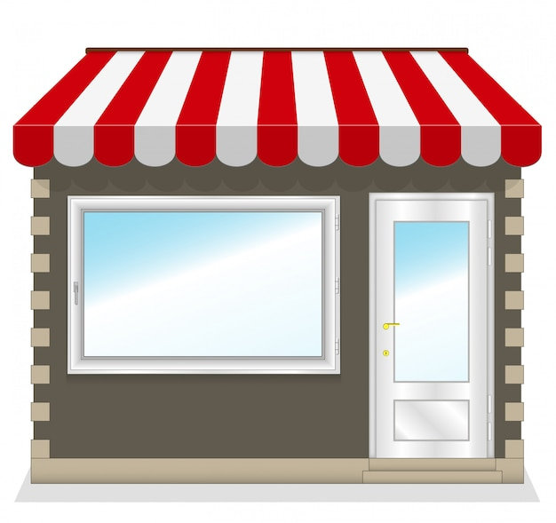 Cute shop with red awnings Premium Vector
