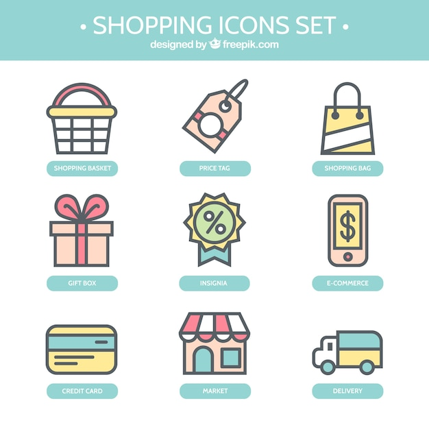 Cute shopping icons Free Vector