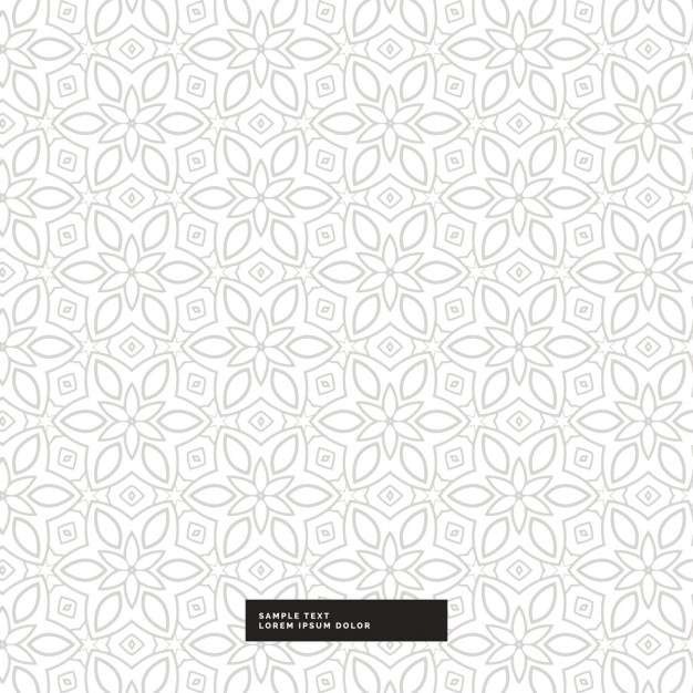 Cute silver floral pattern on a white background Free Vector