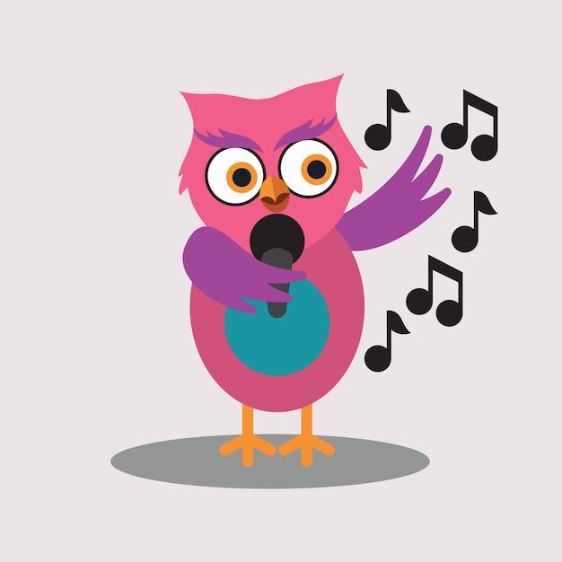 cute singer of owl cartoon character vector free download rh freepik com Autumn Clip Art Peanuts Gang Harvest Clip Art