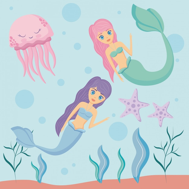 Cute sirens with octopus and starfish Premium Vector