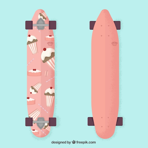 Cute skateboard with cupcakes design