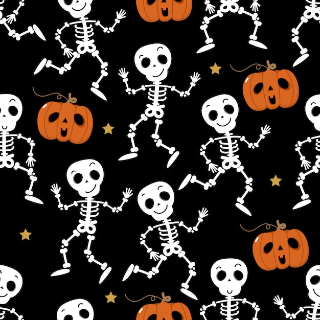 Cute skeleton dance and pumpkin seamless pattern Premium Vector